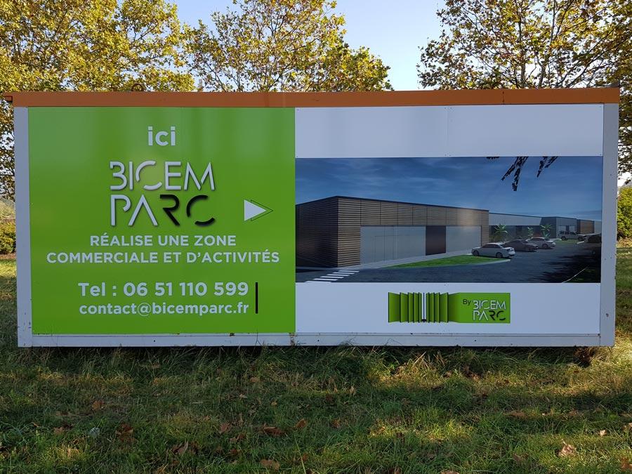 Insignia-Enseigne - Bicem Parc - Covering Habillage Adhésif sur Algéco Chantier